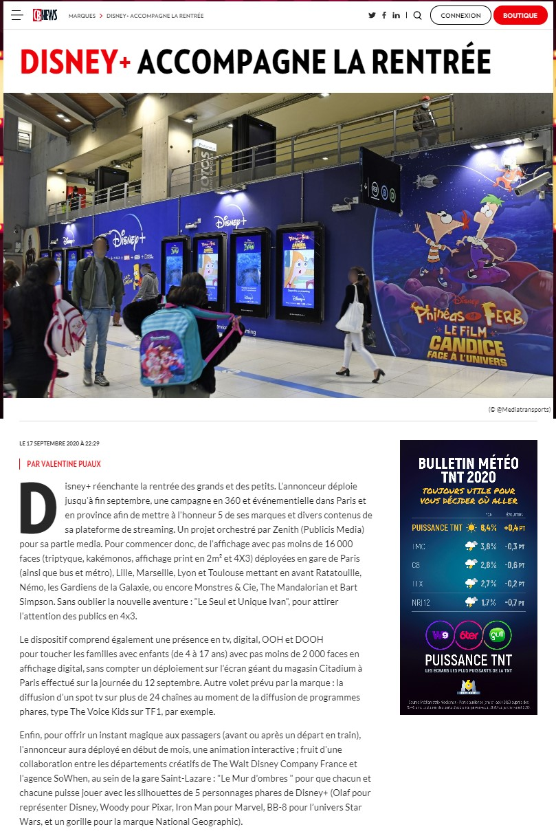 Article de CB NEWS dispositif phygital disney plus et sowhen